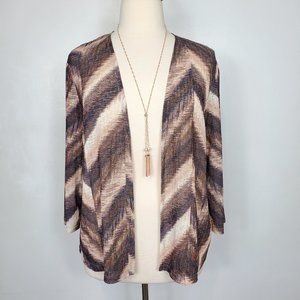 Alfred Dunner Open Front Chevron Cardigan, XL
